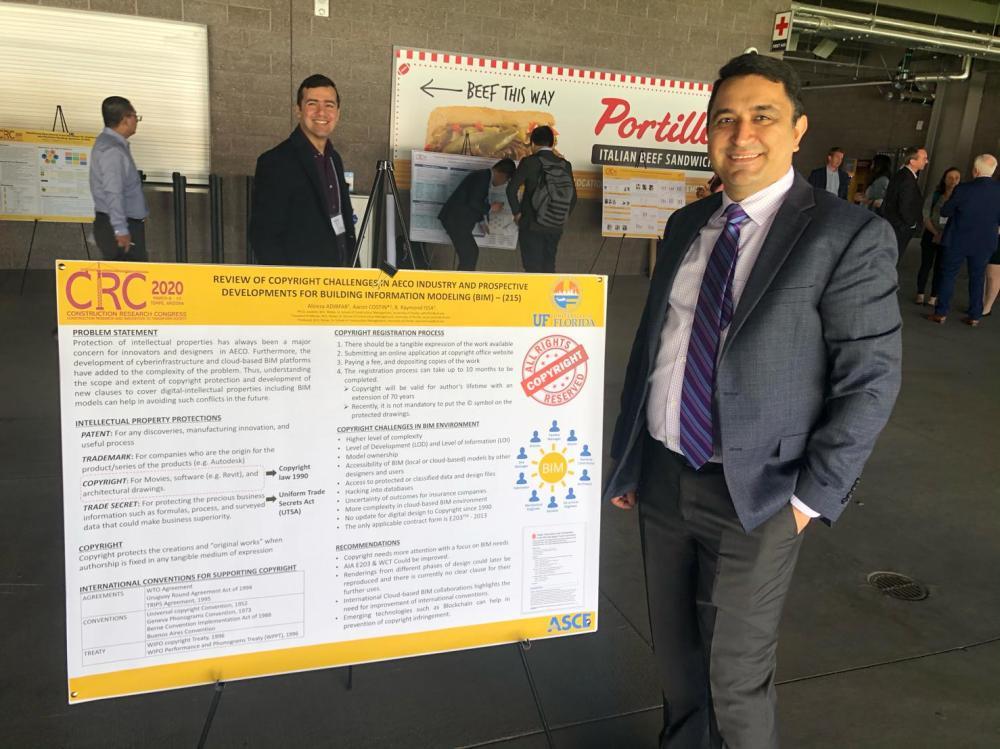 Alireza Adibfar presenting research at the 2020 Construction Research Congress.